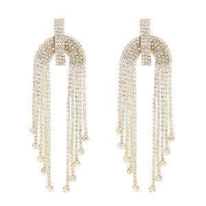 E-4759 Luxury Long Tassels Drop Earrings Wedding Engagement Ear Jewelry for Bridal Bridemaid