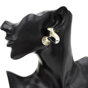 E-4772 3 Style Fashion Personality Pits Points Fold Gold Silver Plated Wrinkled Irregular Earrings Ear Studs Earrings for Women