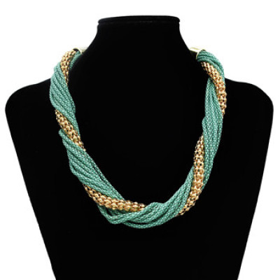 N-1014 European Style Fashion Multilay Snake Chains Tassel Link Necklace