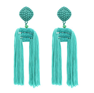 E-4769 Women's Statement Thread Beaded Tassel Earrings Long Fringe Drop Bohemian Earing with Button Stud