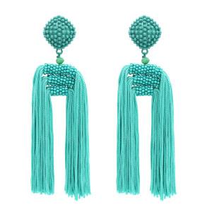 E-4769 Women's Statement Thread Beaded Tassel Earrings Long Fringe Drop Bohemian Earing with Button Stud