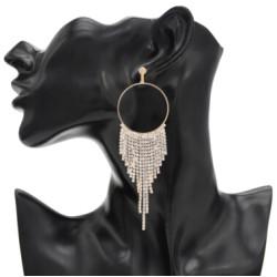 E-4767 Shiny Silver Gold Metal Rhinestone Long Tassel Drop Earrings for Women Bridal Wedding Party Jewelry Gift