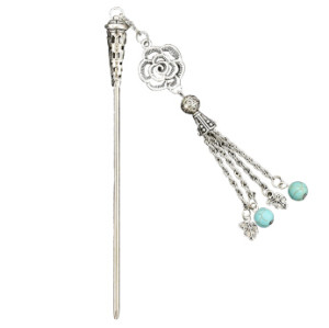 F-0497 Vintage Silver Metal Flower Shape Long Tassel Hair Sticks for Women Chopsticks Hair Jewelry Accessories