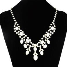 N-0251 New Fashion Gun Black Metal Resin Colorful Gemstone Charming Choker Bib Necklace