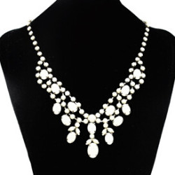 N-0251 New Fashion Gun Black Metal Resin Colorful Gemstone Charming Choker Bib Necklace