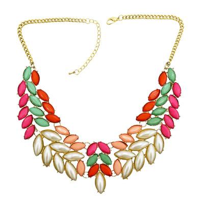 N-0276 New Fashion Chunky Gold Tone Metal Candy Resin Gem Leaf Feather Bib Necklace