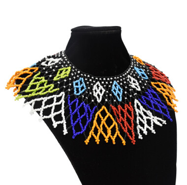 N-7087  African Tribal New Fashion Choker Necklaces Colorful Acrylic Beaded Indian Ethnic Bib Choker Necklace For Women Charm Beads Making Jewelry