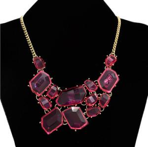 N-4257 Cute Lovely Sweet Jelly Resin Gem Golden Metal Choker Bib Necklace