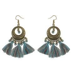 E-4228 2 Styles Bohomia Shiny Alloy Hook Feather Earrings Tassel Brown Green Women Jewelry