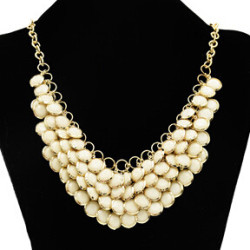 N-0270 New Golden Chunky Multi Layers Resin Gem Round Bib Statement Necklace