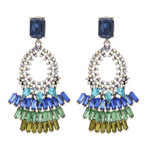 E-4776  Bohemian Vintage Glass Drill  Shining Round Earrings Stud  Earring