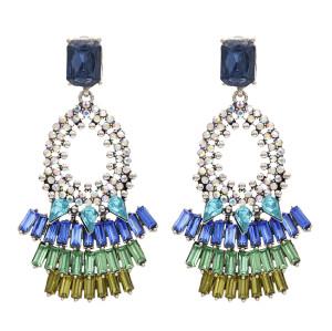 E-4776  Bohemian Vintage Glass Drill  Shining Round Earrings Stud  Earring