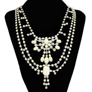 N-0279 5 Colors New Fashion Style Nobel Rhinestone 5 Colors Multilevel Resin Chains Necklace