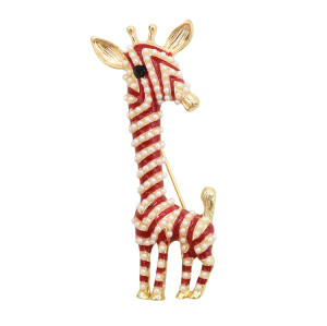 P-0407 Cute Giraffe Brooch Enamel Artificial Pearl Animal Brooch Pin for Women