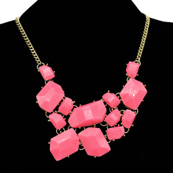 N-4256 New Arrival Gold Plated Acrylic Gem Fashion Charming Choker Bib Necklace