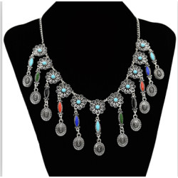 N-7088  New Arrival Silver Plated Colorful Natural Stone Gem Fashion Charming Choker Bib Necklace Coins Pendant Statement Necklace