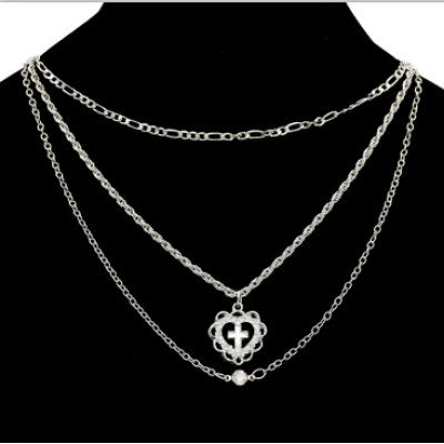 N-7089 Fashion Silver Gold Alloy Rhinestone Cross Shape Pendant Necklaces for Women Boho Party Jewelry