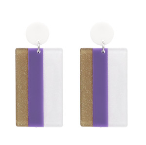 E-4775  Fashion Drop Earrings Acrylic Big Rectangle Three-colour Pendant Earring for Valentine's Day Gift