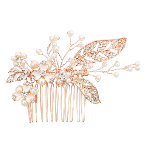 F-0499 Fashion Hair Accessory Copper Wire Crystal Rhinestone Artificial Pearls Hairclip Hair Clips Comb for Women