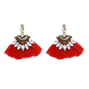 E-4786 4 Colors Cotton Thread Tassel Rhinestone Drop Earrings for Women Boho Wedding Party Jewelry Gift