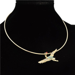 N-7091 Trendy Gold-Plated Alloy Crane Rhinestone Personality Necklace For Women Jewelry Design