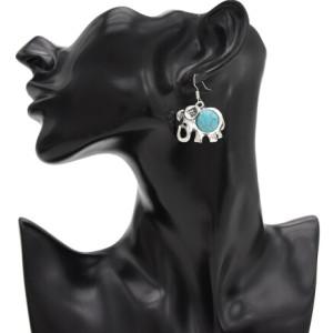 E-4783 1 Colors Fashion Bohemian Vintage Green Stone Elephant  Drop Earrings For Women Party Jewelry