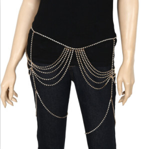 N-7098 Sexy Women Legs Body Chain Shining Crystal Rhinestone Waist Chains Link Chains Belly Chains Women Sexy Beach Body Jewelry
