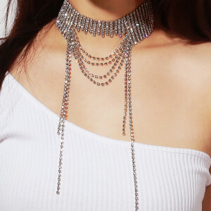 N-7095 Luxury Rhinestone Bib Choker Necklaces With Long Tassel  for Women Wedding Party Jewelry Gift