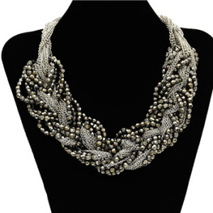 N-1877 New Fashion Multilayer Chains Beads Hand Knit Choker Necklace