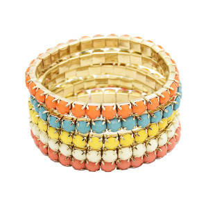B-0205 Wholesale 5 Pcs Set Multi Strand Acrylic Colorful Gem Stretch Bracelet
