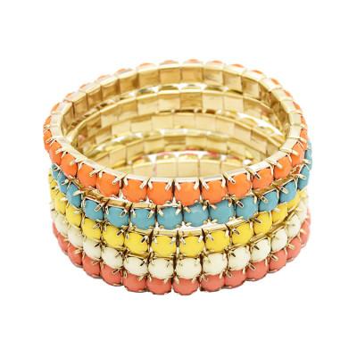 B-0205 * Wholesale 5 Pcs Set Multi Strand Acrylic Colorful Gem Stretch Bracelet