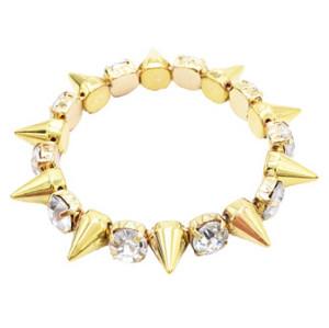 B-0015 Punk Style Gold Silver Tone Rivet Rhinestone Stretch Bracelet