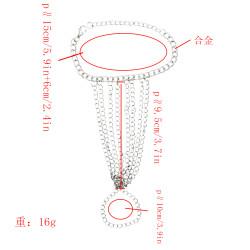 Bohemian Silver Chain Tassel Hand Chain Harness Bracelet With Finger Ring