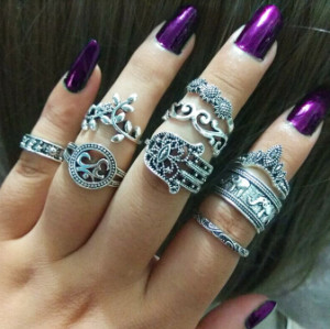 R-1504 2 Styles 9Pcs/Set Vintage Silver Metal Rhinestone Midi Finger Ring Sets for Women Boho Party Jewelry