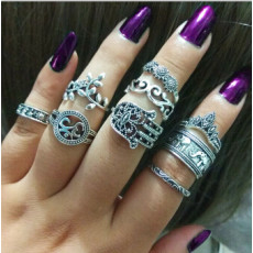 R-1504 2 Styles 9Pcs/Set Vintage Silver Metal Rhinestone Midi Finger Ring Sets for Women Boho Party Jewelry