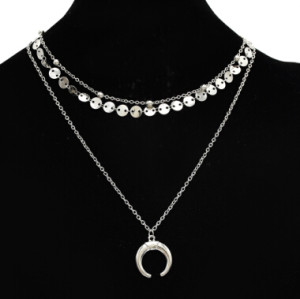 N-7101 New Fashion Silver Moon Shaped Pendant Necklace Clavicular Chain Multilayer Necklace Women Charming Jewelry