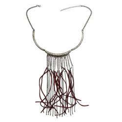 N-3120 Fashion Bohemia Style Gun Black Metal Chain leather tassels choker Necklace