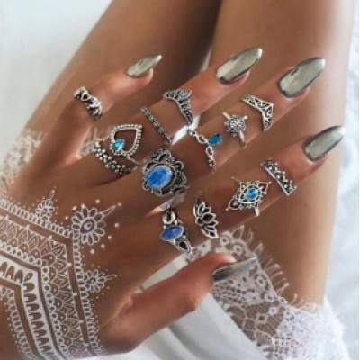 R-1505  2 Styles Rings Set Vintage Silver Metal Rhinestone Midi Finger Ring Sets for Women Gypsy Dancer  Boho Party Jewelry