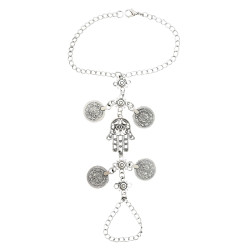 B-0906 Vintage Silver Hamsa Fatima Coins Pendant Bracelet with Finger Ring Hand Chain Harness