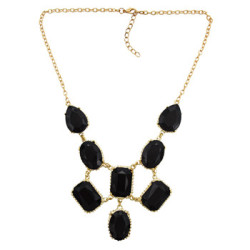 N-3014 European Style Gorgeous Gold Plated Black Resin Gem Drop Women Choker Necklace