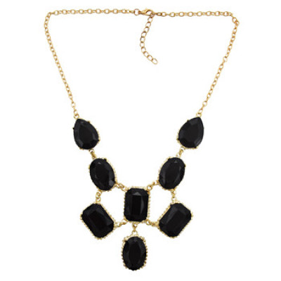 N-3014 European Style Gorgeous Gold Plated Black Resin Gem Drop Women Choker Necklace
