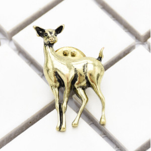 P-0406 Vintage Gold Metal Deer Brooches For Women Animal Brooch Pins Dress Jacket Pin Fashion Accessories