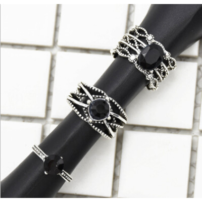 R-1503  3Pcs/Set Vintage Silver Metal Black Clear Rhinestone Knuckle Ring Sets for Women Boho Summer Jewelry
