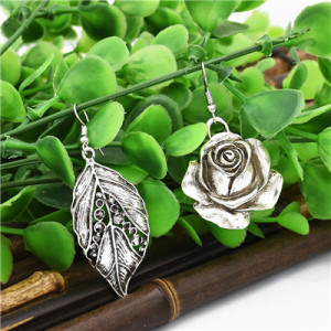 E-4789 2 Styles Trendy Vintage Silver flower Leaf Earring For Women Jewelry Design