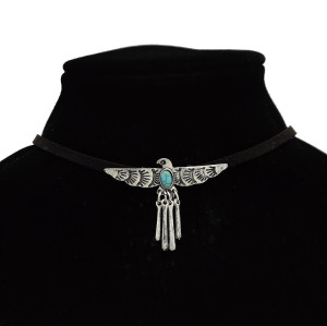 N-7103 Personality Choker Necklace Collar Winged Eagle Pendant Bib Necklace Velvet Chain
