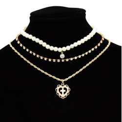 N-7104 Fashion Gold Alloy Rhinestone pearl Cross Shape Pendant Necklaces for Women Boho Party Jewelry
