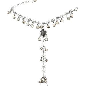 B-0907 Vintage Silver Bronze Color Bells Shape Hand Chain Bracelet Link Finger Slave Chain Boho Beach Party Jewelry