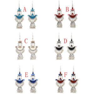 E-4790 6 Colors Vintage Silver Bells Tassel Drop Dangle Earrings For Women Jewelry Design