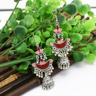 E-4790 6 Colors Vintage Silver Bells Tassel Drop Dangle Earrings For Women Jewelry Design