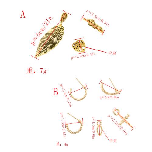 E-4802 Fashion 3pcs/set Semicircle Cross Pendant Leaf Earrings Stud for Women